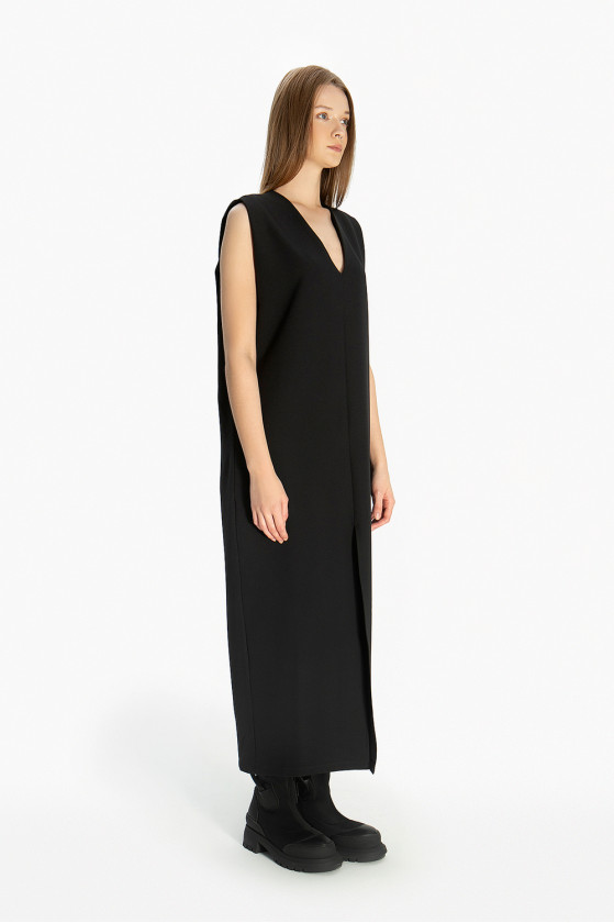 Šaty - vesta dlouhá bez rukávu
