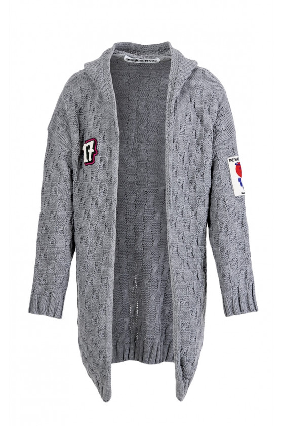 Kabátový svetr s kapucí